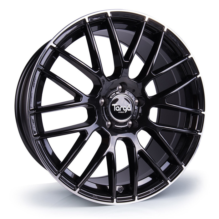 19x8.5 Targa TG2 5x112 ET45 CB73.1mm - Gloss black / polished lip tip - max load 725kg