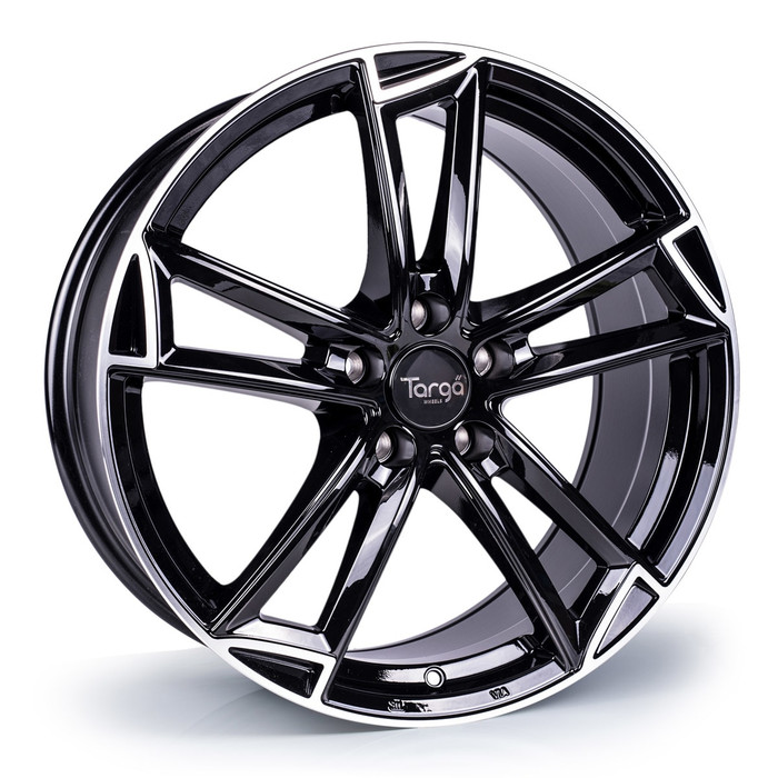 18x8.0 Targa TG3 5x120 ET42 CB72.6mm - Gloss black / polished lip - max load 815kg