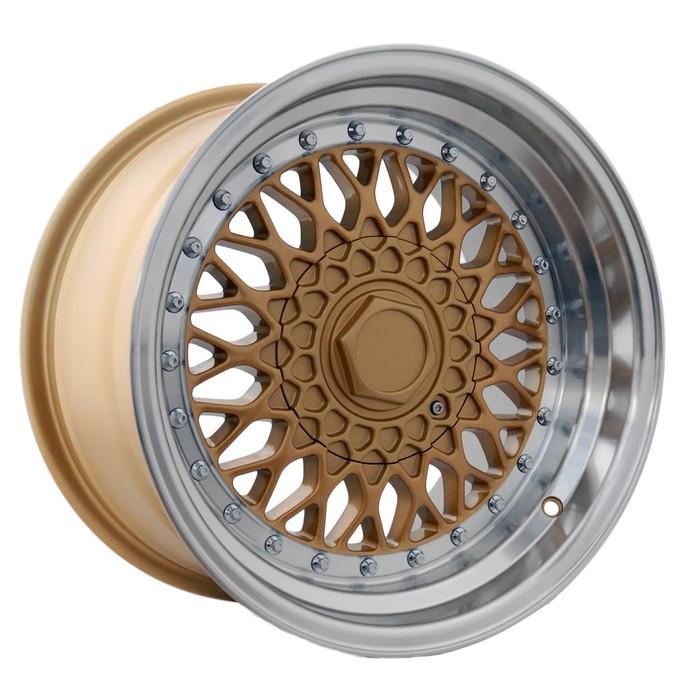17x10.0 Dare DRRS 5x112/120 ET15 CB73.1 Gold polished / chrome rivets