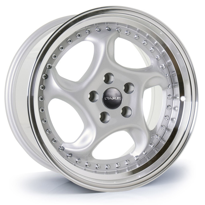 17x7.5 Dare F6 5x100 ET35 CB73.1 Silver polished lip - max load 770kg