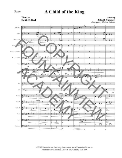A Child Of The King - Score and Instrumental Parts