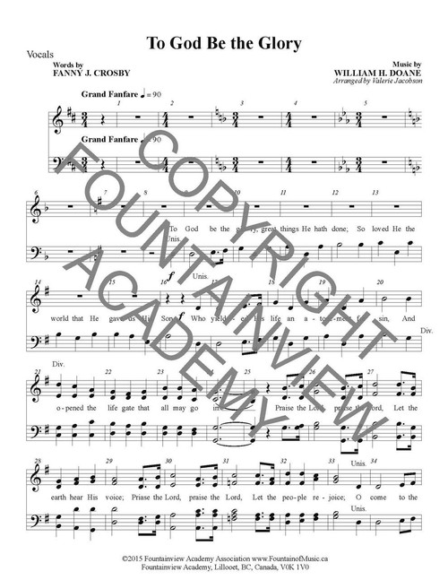 To God Be the Glory - Score and Instrumental Parts