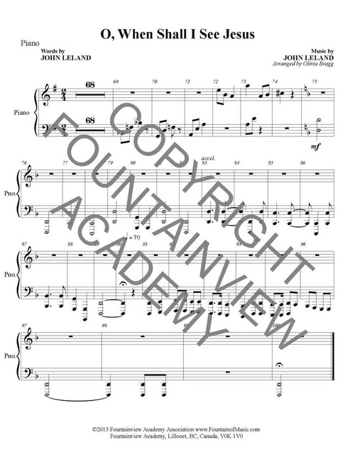 O When Shall I See Jesus - Score and Instrumental Parts