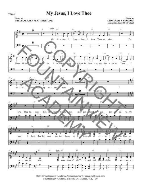 My Jesus I Love Thee - Score and Instrumental Parts