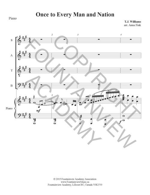 Once to Every Man and Nation - Piano Sheet Music