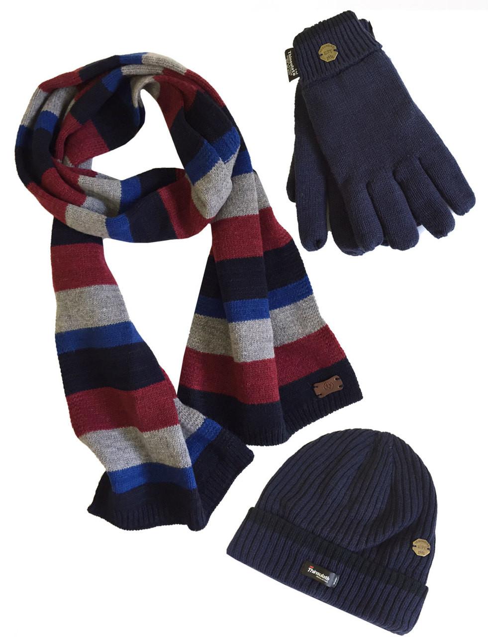 Men s Hat Glove Scarf set (3022) Navy Denim - Vedoneire 9bc72848621e