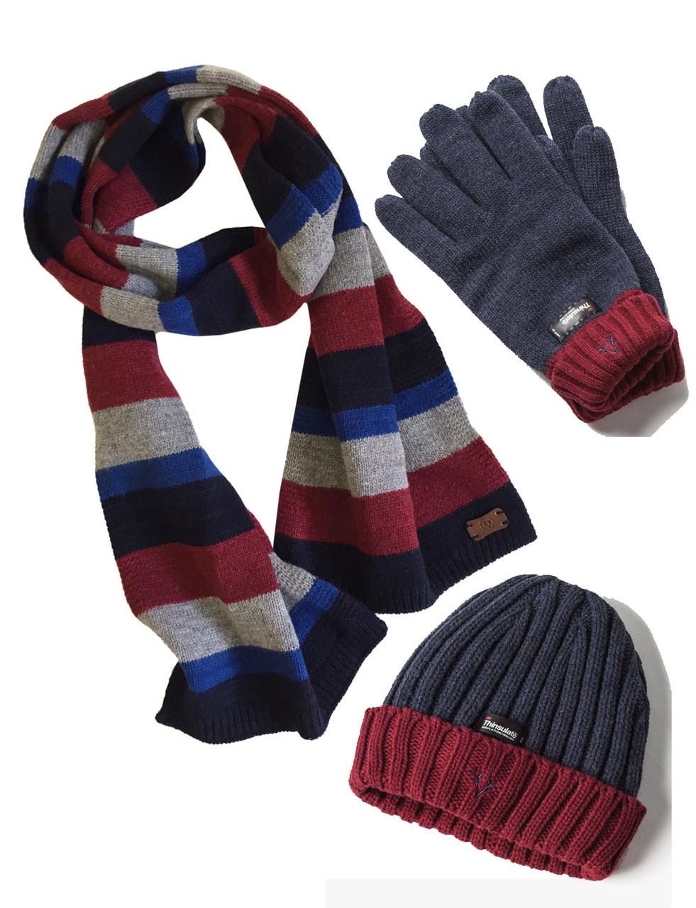d503dc66b10 Men s Hat Glove Scarf set (3022) Navy Denim Wool - Vedoneire