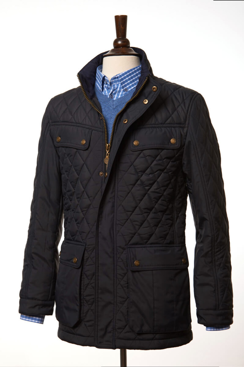 430f69660f Mens Fleece Lined Winter Diamond Quilted Jacket in Navy blue by Vedoneire  of Ireland
