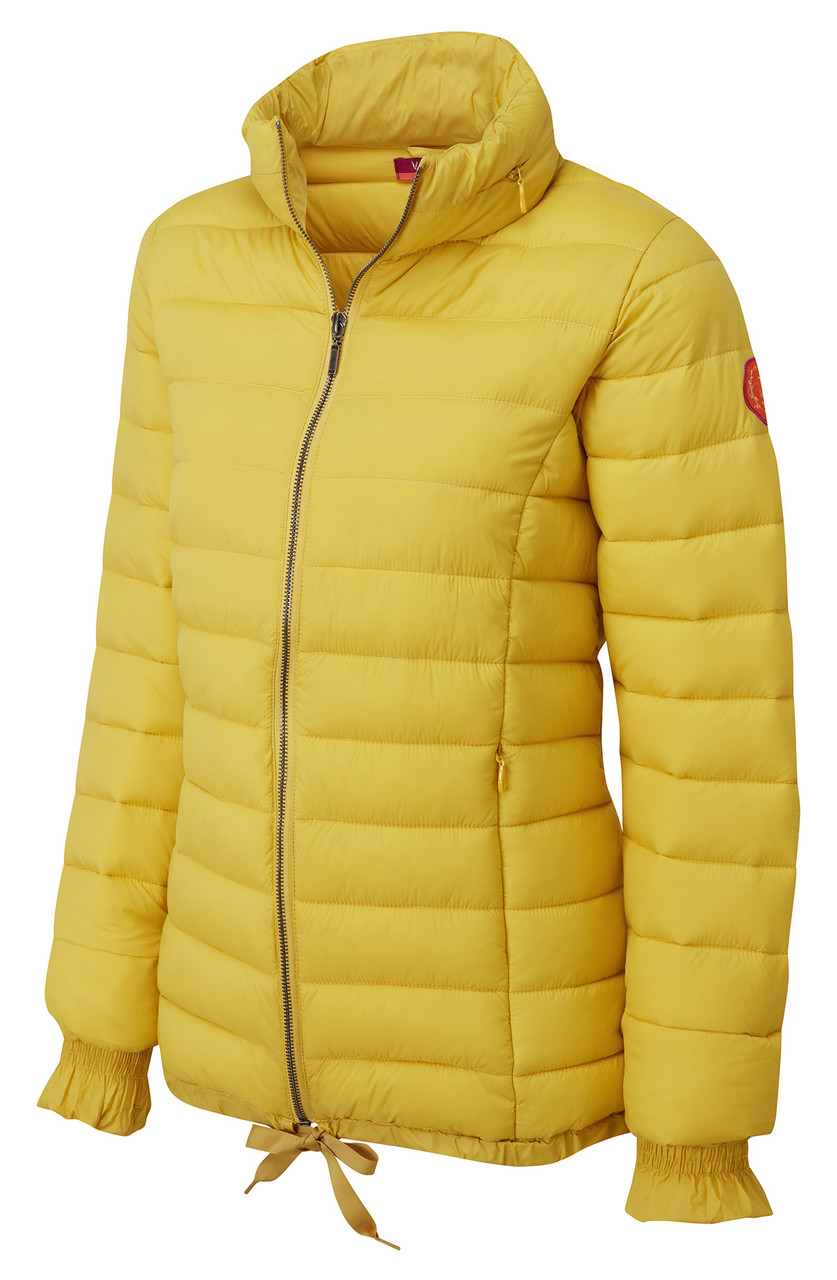 378eb81873 Womens puff a padded jacket coat by Vedoneire in vibrant yellow colour.
