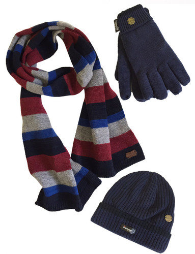 2c9c6e13d5fa Men s Hat Glove Scarf set (3022) Navy Denim