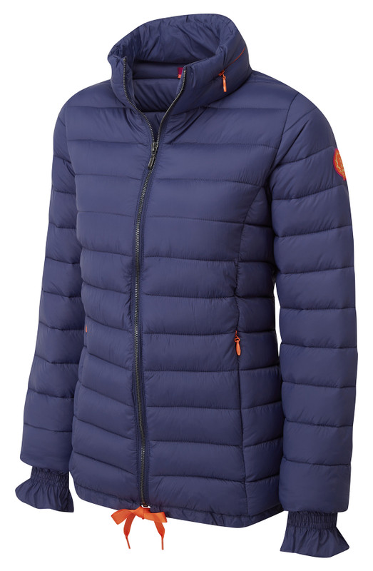 f8369c66103da8 Womens puff a padded jacket coat by Vedoneire in navy blue colour.