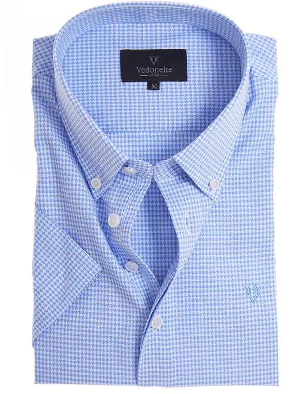 Men Fashion Cotton Casual Shirts Short Sleeve Plaid Checked Button Down Shirts