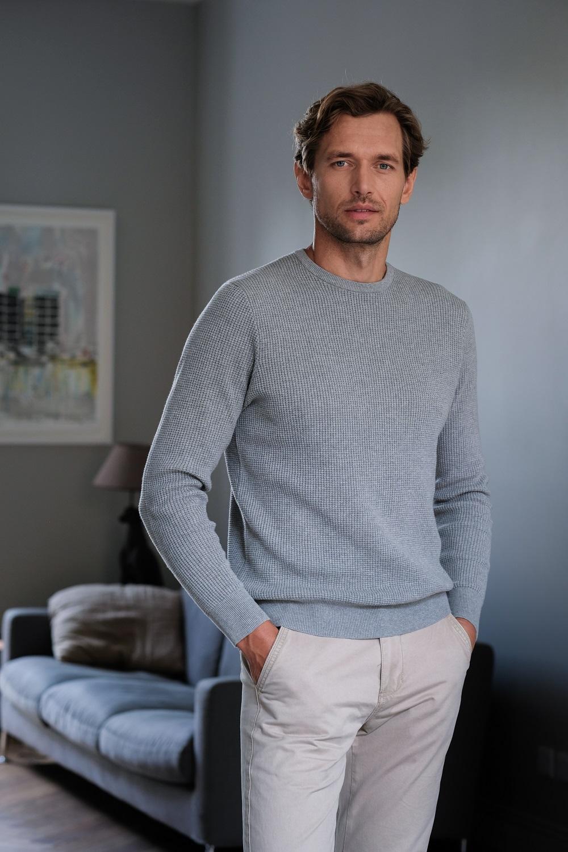 Men's Textured Crew Neck Jumper (3141) light grey round neck texture knit sweater