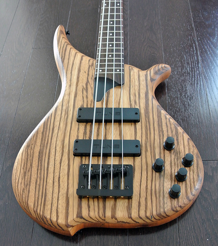 TUNE Hatsun TWB43 ZB - 4 String  Bass - Zebra Wood Top - Black Hardware
