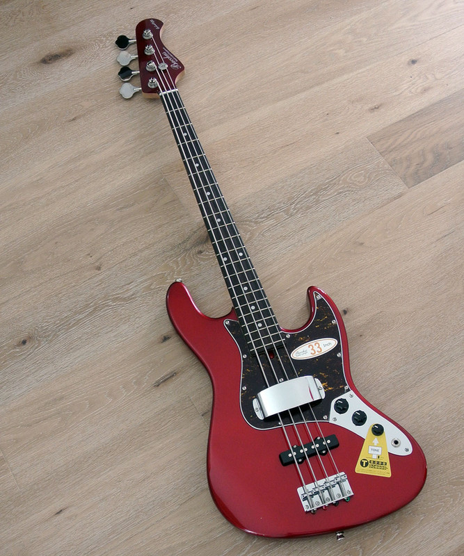 """Bacchus Global Series - WL-433 - 33"""" Scale 4 String Bass - Candy Apple Red Finish"""