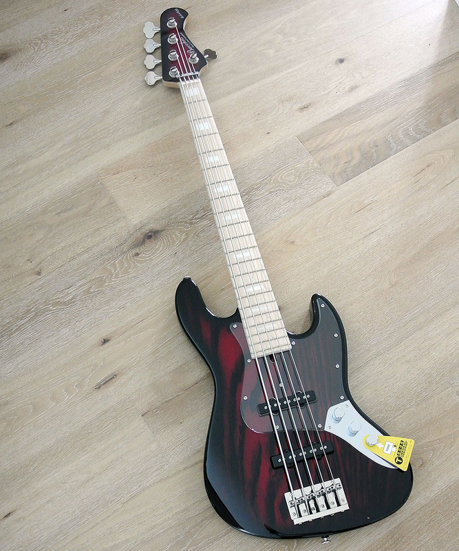 Bacchus Craft Japan Series - WL5DX-ASH Burner - 5 string bass with burned ash body - Red Burst Crafted in Japan