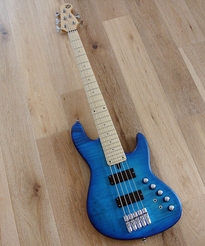 Maruszczyk Instruments - Elwood L 5a24 - 5 String Bass - Flame Maple - 2 Tone Blue Finish