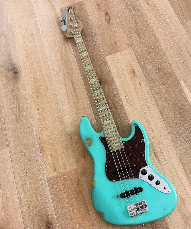 Marco Bass Guitars -  TFL 4 Relic - 4 String Bass Guitar In Surf Green