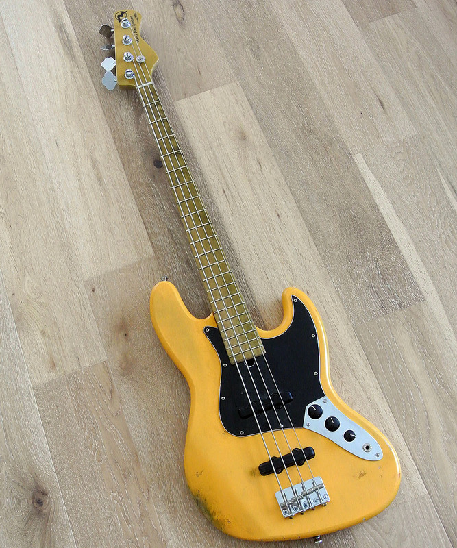 Marco Bass Guitars -  TFL 4 Relic - 4 String Bass With Tulip Wood Body  In Butterscotch Yellow