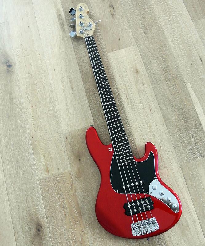 Sandberg California II - TM 5 String - Active Bass in Metallic Red Finish and Steamed Oak Fingerboard
