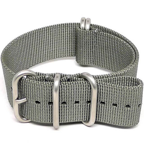 Ballistic Nylon Military Watch Strap - Grey (Matte Buckle)