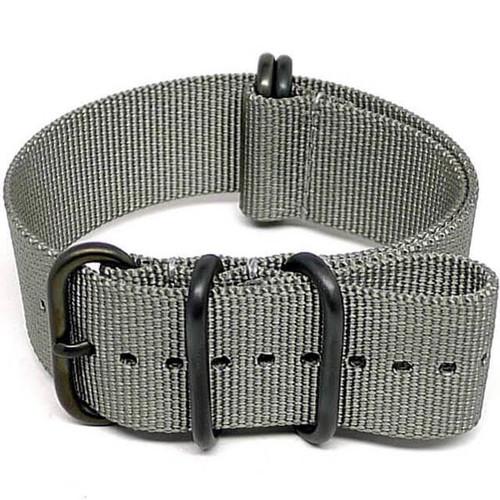 Ballistic Nylon Military Watch Strap - Grey (PVD Buckle)