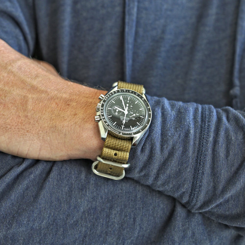 Ballistic Nylon Military Watch Strap - Sand (Matte Buckle)