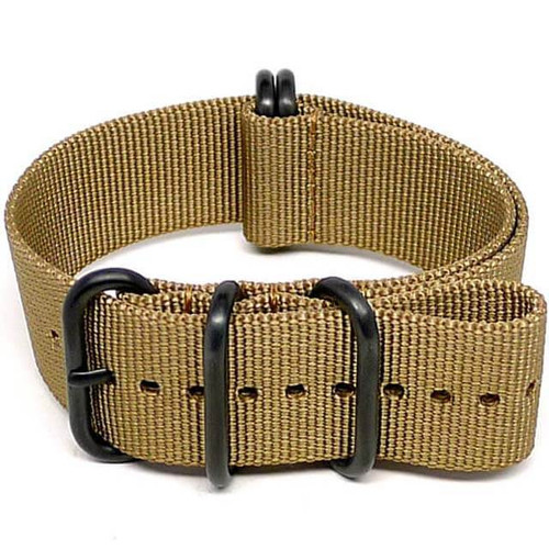 Ballistic Nylon Military Watch Strap - Sand (PVD Buckle)