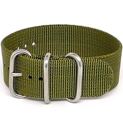 Ballistic Nylon Military 1 Piece Watch Strap - Olive (Matte Buckle)