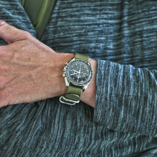 Ballistic Nylon Military 1 Piece Watch Strap - Olive (Matte Buckle)