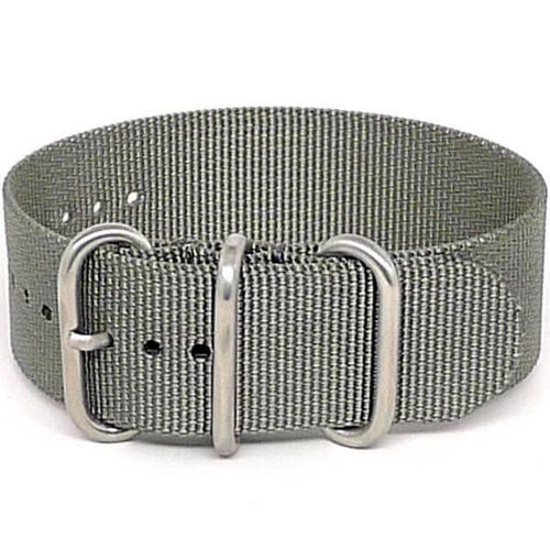 Ballistic Nylon Military 1 Piece Watch Strap - Grey (Matte Buckle)