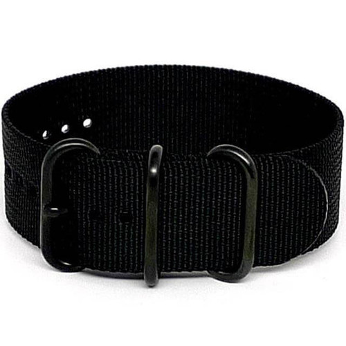 Ballistic Nylon Military 1 Piece Watch Strap - Black (PVD Buckle)