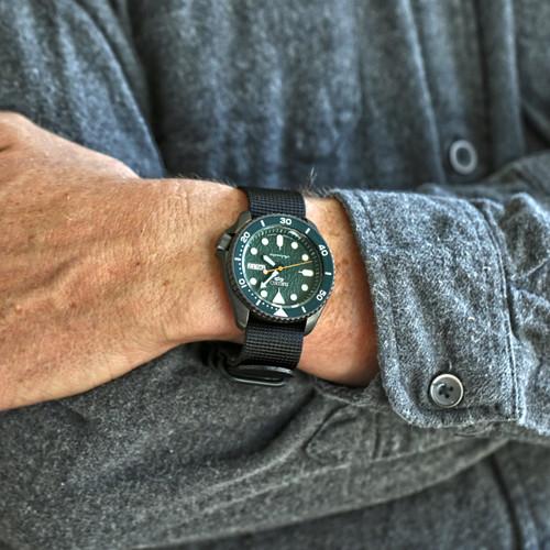 Ballistic Nylon Military 1 Piece Watch Strap - Black (PVD Buckle)