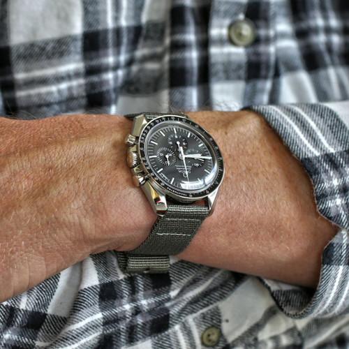 Two Piece Ballistic Nylon Watch Strap - Grey