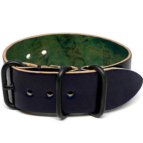 Shell Cordovan 1 Piece Military Leather Watch Strap - Navy (PVD Buckle)