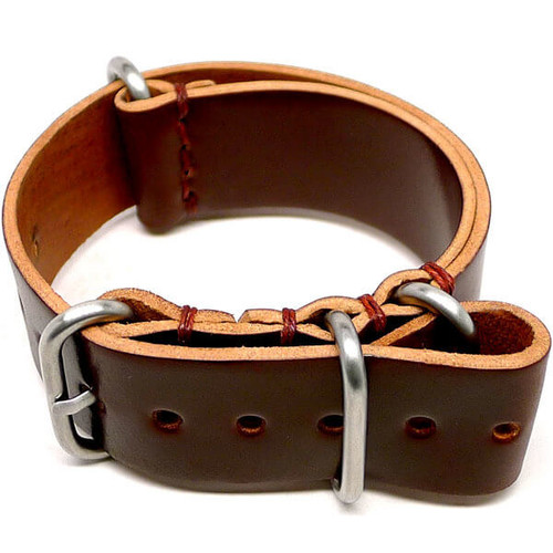 Shell Cordovan Military Leather Watch Strap - Color 4 (Matte Buckle)