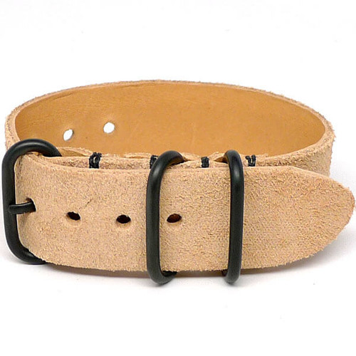 1 Piece Military Leather Watch Strap - Natural Suede (PVD Buckle)
