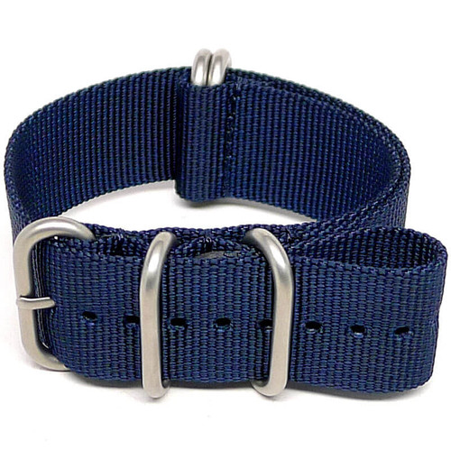Ballistic Nylon Military Watch Strap - Navy Blue (Matte Buckle)