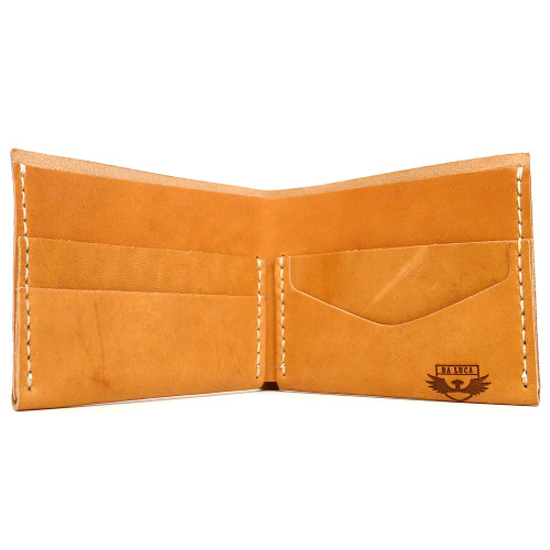 DA LUCA Handmade Bi Fold Wallet - Natural Essex open