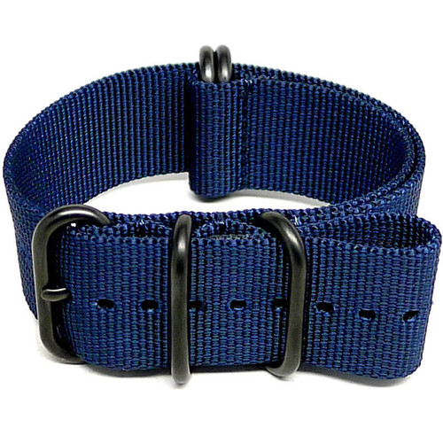 Ballistic Nylon Military Watch Strap - Navy Blue (PVD Buckle)