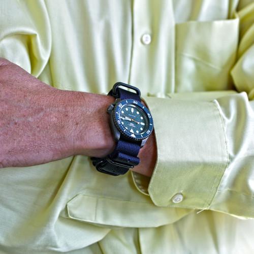 Ballistic Nylon Military Watch Strap - Navy Blue (PVD Buckle)