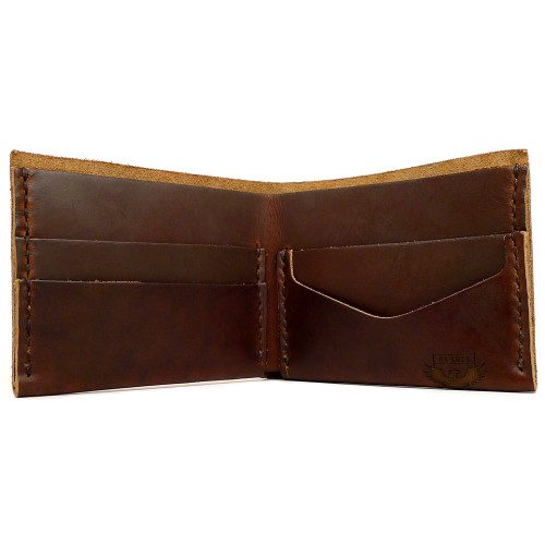 DA LUCA Handmade Bi Fold Wallet - Brown Chromexcel open