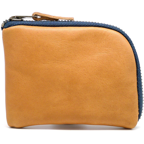 Leather Zip Wallet - Natural Essex (Navy Zipper)