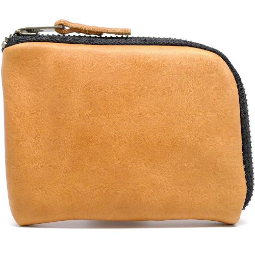 Leather Zip Wallet - Natural Essex (Black Zipper)