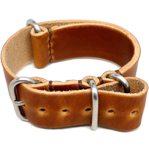 Military Leather Watch Strap - Natural Dublin (Matte Buckle)