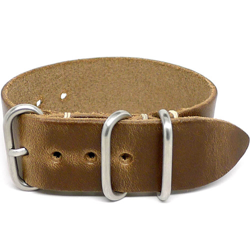 1 Piece Military Leather Watch Strap - Natural Chromexcel (Matte Buckle)