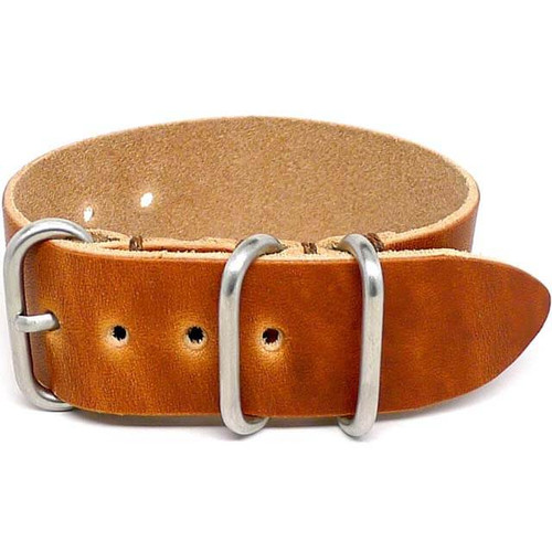 1 Piece Military Leather Watch Strap - Natural Dublin (Matte Buckle)