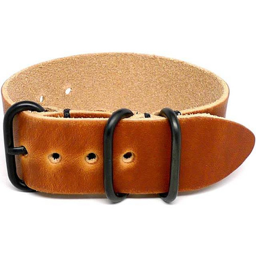 1 Piece Military Leather Watch Strap - Natural Dublin (PVD Buckle)
