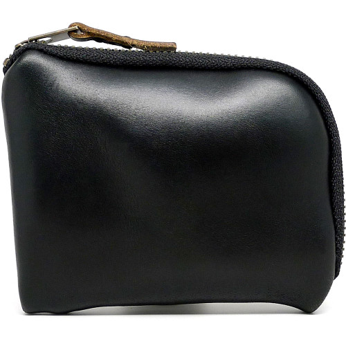 Leather Zip Wallet - Black Chromexcel (Black Zipper)