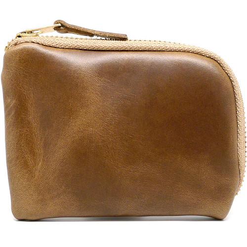 Leather Zip Wallet - Natural Chromexcel (Khaki Zipper)